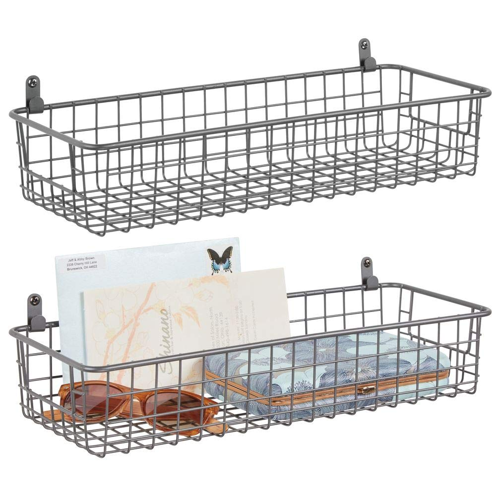 mDesign Portable Metal Farmhouse Wall Decor Storage Organizer Basket Shelf with Handles for Hanging in Entryway, Mudroom, Bedroom, Bathroom, Laundry Room - Wall Mount Hooks Included, 2 Pack - Graphite