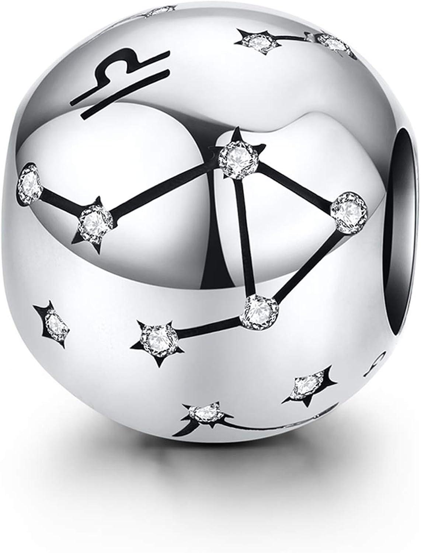 LaMenars 12 Constelación Abalorios Charms Plata de Ley 925, Abalorios de Zodiaco Compatible con Pulsera Pandora & Europeo, Regalo de Cumpleaños Significativo