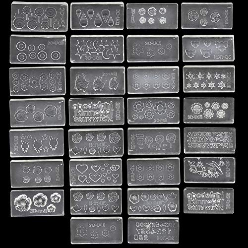 (Shelloloh 30 Pcs/Set 3D Silicone 30 Pcs Nail Art Molds Mix Design DIY Nail Art Decortive Acrylic Mold for Nail)