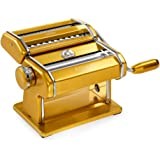 Marcato Atlas Pasta Machine, Stainless Steel, Silver, Includes Pasta Cutter, Hand Crank, and Instruction Gold Gold
