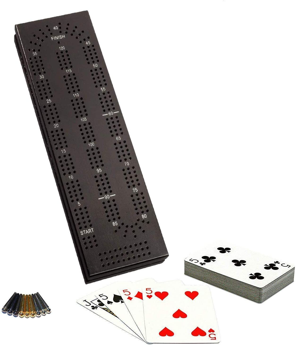 WE Gamesキャビネットクリベッジセット – ソリッドウッド – ブラックステイン – 連続3トラックボード 簡単グリップペグ カード ストレージエリア