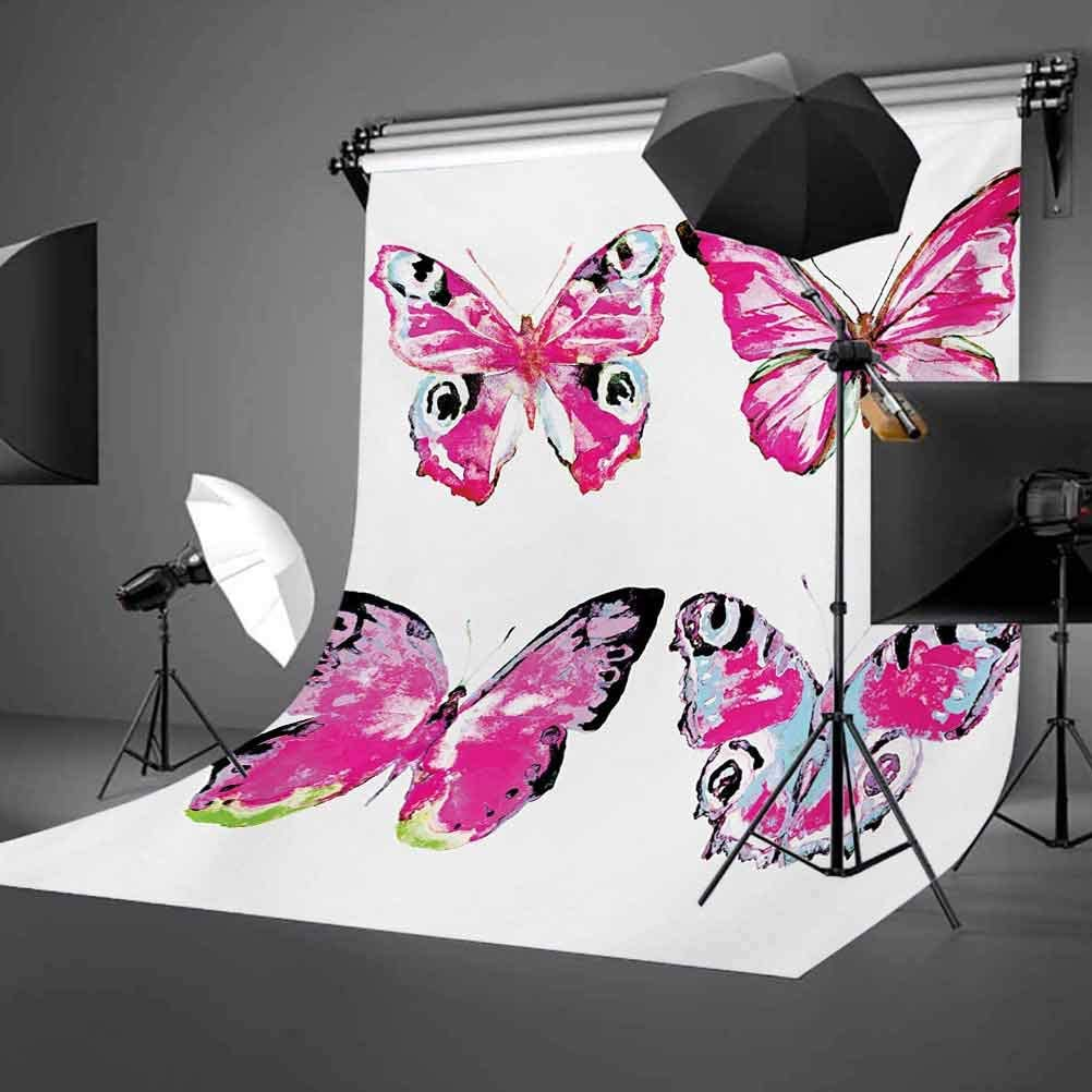 Watercolor 8x10 FT Photo Backdrops,Artistic Butterflies Spring Season Nature Wildlife Insects Vintage Background for Kid Baby Boy Girl Artistic Portrait Photo Shoot Studio Props Video Drape Vinyl