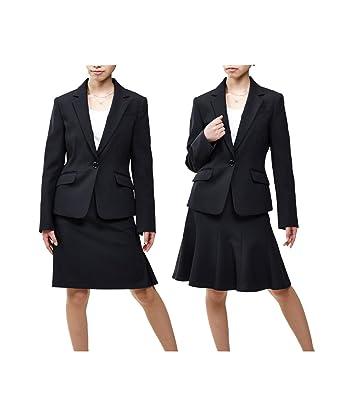 スカートスーツ /(ひざ中丈 55cm/) レディース nissen オールシーズン オフィススーツ セットアップ 洗える /(ニッセン/) 定番 上下