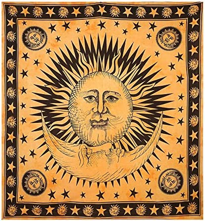 Gokul Handloom Mandala Tapestry Cotton Yellow Tie Dye Sun Moon Printed Queen Wall Hanging Throw Beach Picnic Wall Decoration Room Divider Table Cloth