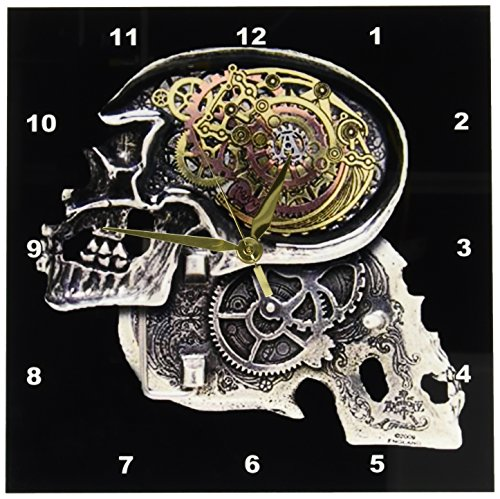 3dRose dpp_102675_1 Steampunk Gothic Faux Metal Skull Image-Wall Clock, 10 by 10-Inch