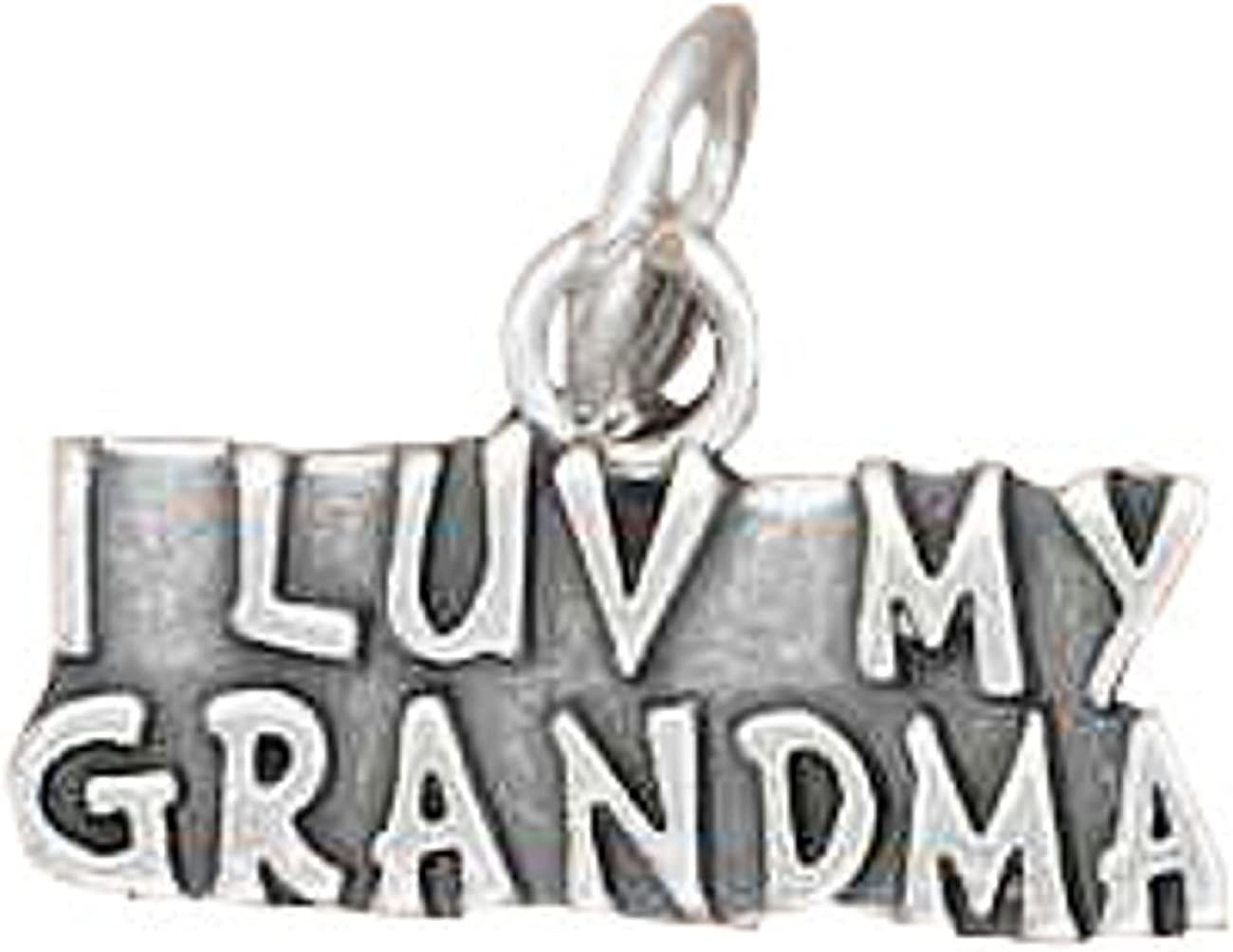Sterling Silver Girls .8mm Box ChainI LUV MY GRANDMA Word Pendant Necklace