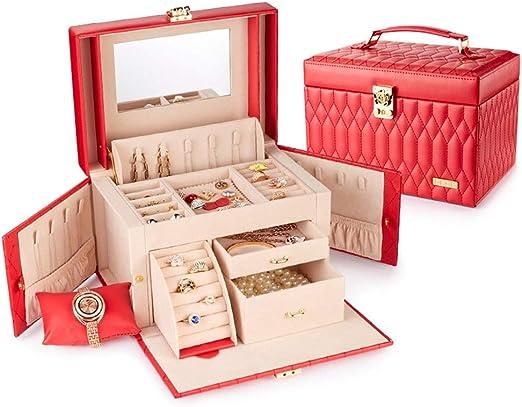 JIAYING Cajas para Joyas Caja para Organizador de Joyas, Anillo, Collar y aretes Pulsera Caja para organizar la exhibición, 3 Capas, 2 cajones (Blanco, Rosa Desnuda, Rosa Roja, Rojo) (Color : Red):