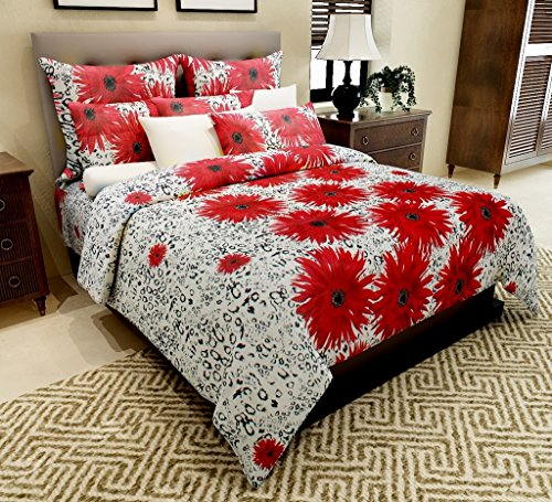 Home Candy 144 TC Red Floral Cotton Double Bedsheet with 2 Pillow Covers – Red