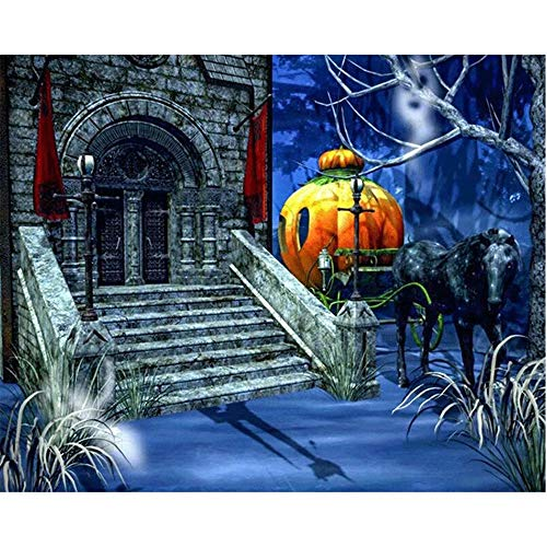 Diy 5D Diamond Sticker Painting Kits Arts Crafts - Halloween Castle Pumpkin Black Carriage(Frameless)]()
