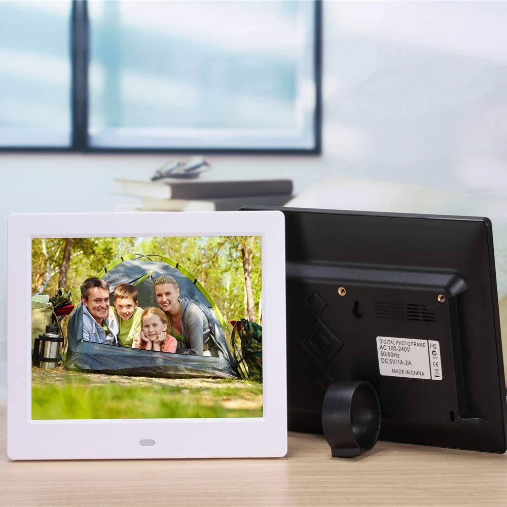 LoMe Digital Photo Frame 8-inch 1080P Electronic Photo Frame Ultra-Thin Narrow Border Advertising Screen,Black
