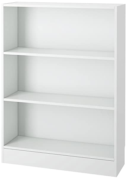Tvilum 7177649 Element Wide 3 Shelf Bookcase Short White