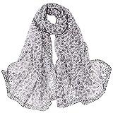Jonecal Women Small Floral Print Long Wrap Chiffon Scarf Shawl Neckerchief (White)