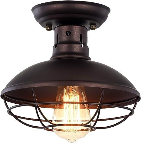 Amazon Com Pauwer Industrial Metal Cage Ceiling Light Semi Flush Mount Mini Pendant Lighting Oil Rubbed Bronze Chandelier For Farmhouse Porch Kitchen Bathroom Home Improvement