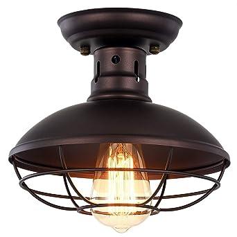 Pauwer - Lámpara de techo de metal industrial con forma de jaula ...