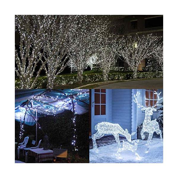 BrizLabs Luci Natalizie Esterno 15M 100 LED Bianco Freddo Luci Stringa 8 Modalità Impermeabile Catena Luminosa Decorazioni Natalizie per Interno, Giardino, Albero di Natale, Matrimonio 4 spesavip