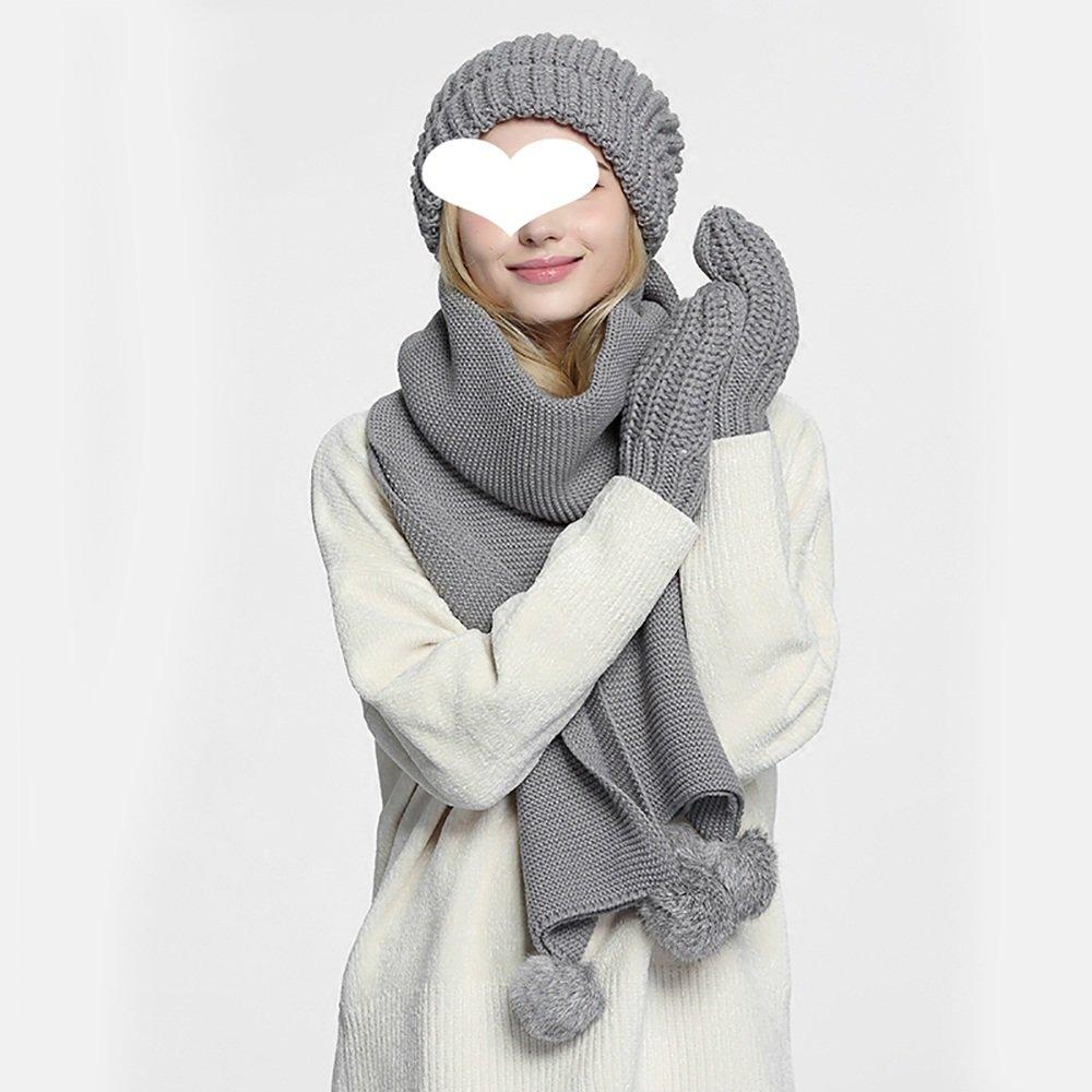 ZZHF Guantes de bufanda de sombrero de invierno de mujer Estudiante ...