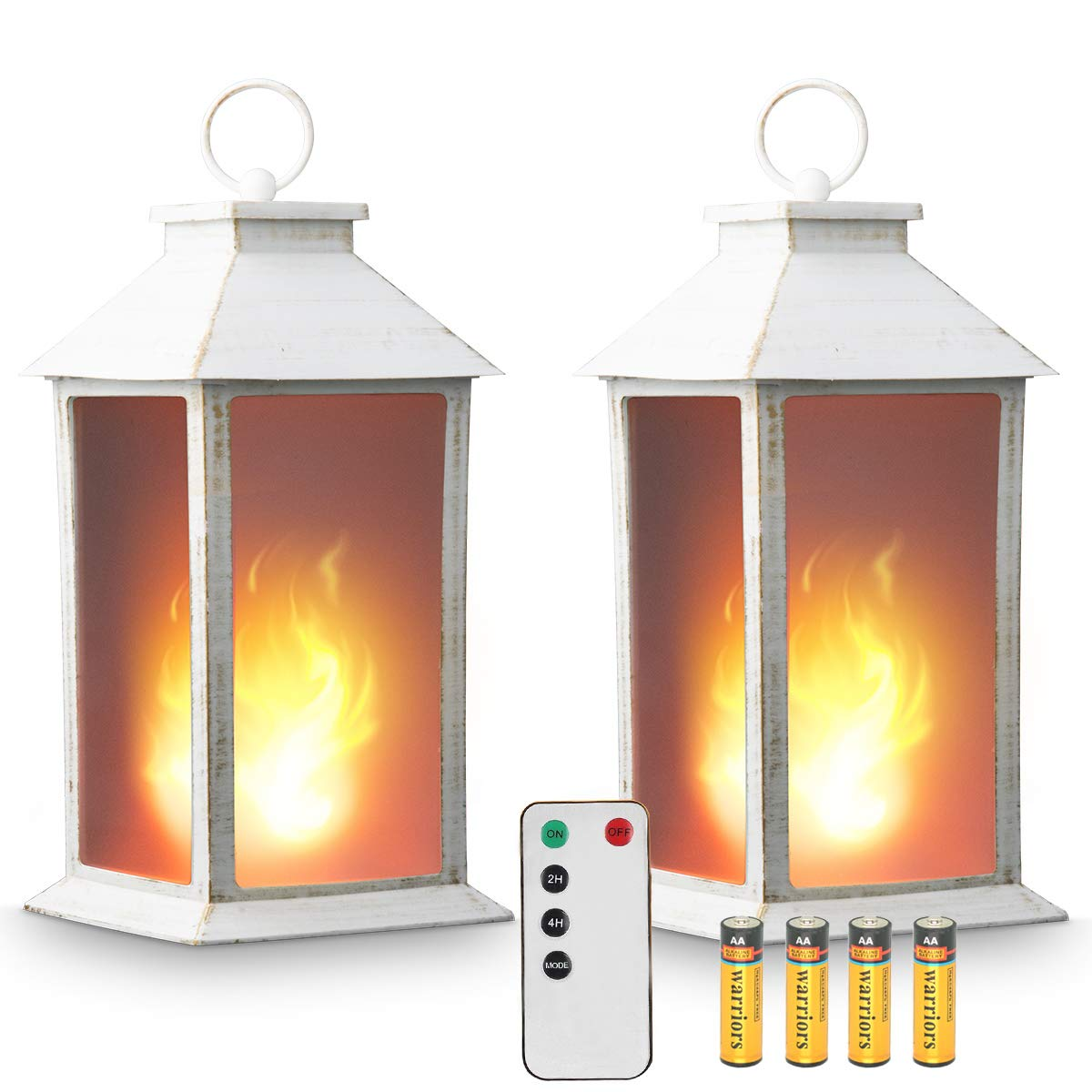 zkee 13'' Vintage Style Decorative Lantern,Flickering Flame Effect LED Lantern,(Remote Control,Timer) Indoor/Outdoor Hanging Lantern,Battery Powered Lantern,Decorative Candle Lantern,White (Set of 2)