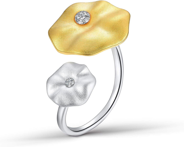 Lotus Fun S925 Anillo de Plata de Ley con Dise?o de Hojas de Loto, Piedras Preciosas Naturales, Hecho a Mano, Joya ¨²nica para Mujeres y ni?as