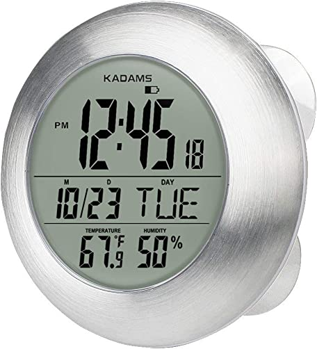 KADAMS Digital Bathroom Shower Wall Clock, Waterproof for Water Spray, Seconds Counter, Temperature Humidity, Moisture Proof, Calendar Month Date Day, Suction Cup Stand Hanging Hole – Silver Frame
