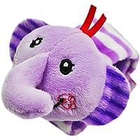 Isuper Bande de poignet de bébé, cloche molle de main de peluche d'enfants, jouet de développement de bracelet pour le bébé d'enfants(l'éléphant)