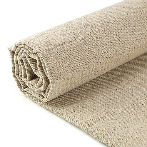 Caydo Aida Cloth Cross Stitch Cloth Linen Needlework Fabric, Plain Solid Colour Linen Fabric Cloth Hemp Jute Fabric Table Cloth Garments Crafts Accessories, 20 by 62-Inch