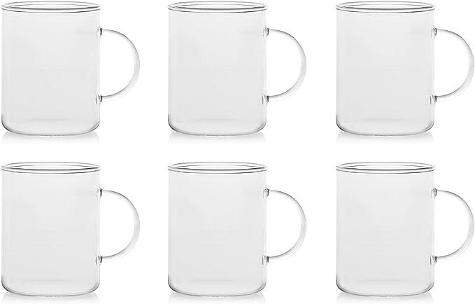 H/&H Set 6 Tazze Mug Vetro Borosilicato Trasparente 400 ml
