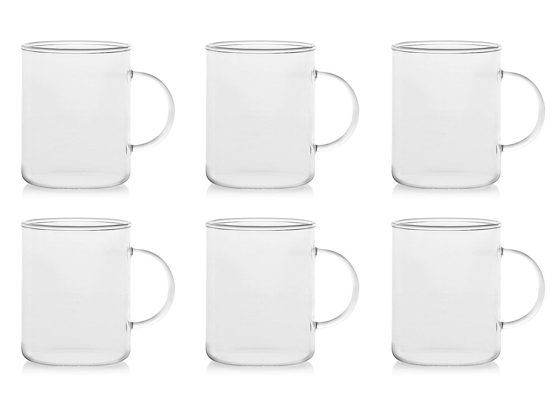 H&H 9033 Juego Tazas Mug, borosilicato, 6 Unidad