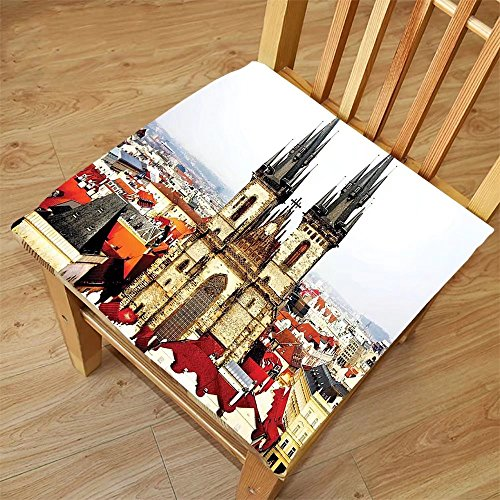 Nalahome Set of 2 Waterproof Cozy Seat Protector Cushion Wanderlust Decor Collection Bird Eye Prague View and Tyn Church Castle Houses Autumn Old Town Square Picture Grey Ivor Printing Size - Sunglasses Prague