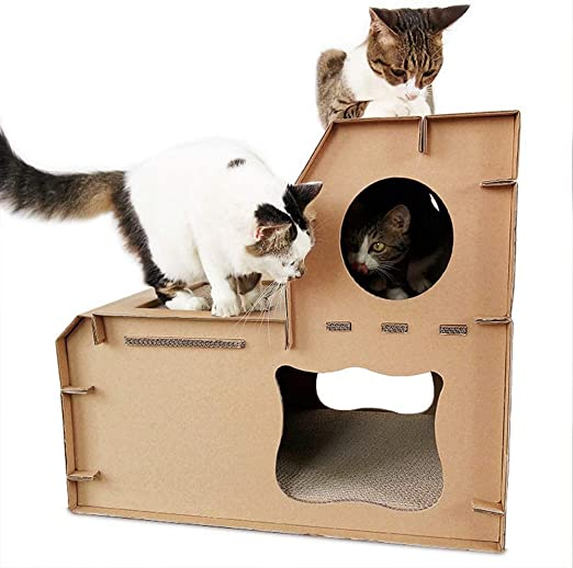 Jia He Juguete para mascotas Placa de rascar for gatos papel corrugado arena for gatos placa de rascar for gatos portador de gato suministros de cartón for gatos caja de la casa