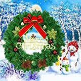 Make you perfect Christmas Wreath, 24-Inch Merry Christmas Decorated Pine Wreath, Artificial Garland with Red Bowknot Bells Gifts for Christmas Party Decor, Front Door Wreath
