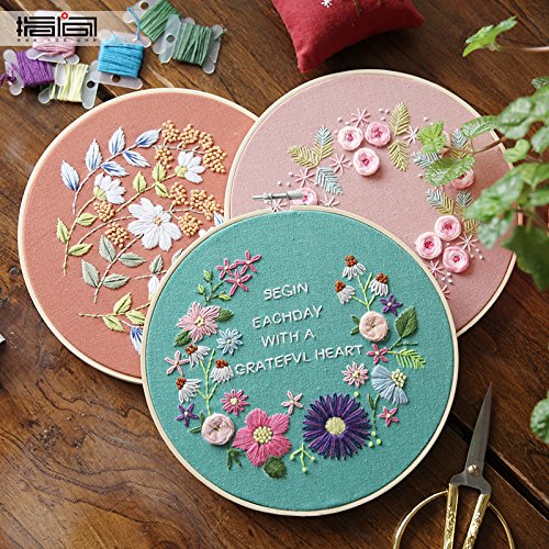 Cross Stitch Stamped Embroidery Kit - Eafior DIY Beginner Counted Starter Cross Stitch Kit for Art Craft Handy Sewing Including Color Pattern Embroidery Cloth,Embroidery Hoop,Color Threads,Tools Kit