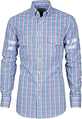 Angel Cola Men's Varsity Striped Cotton Plaid Check Casual Shirt
