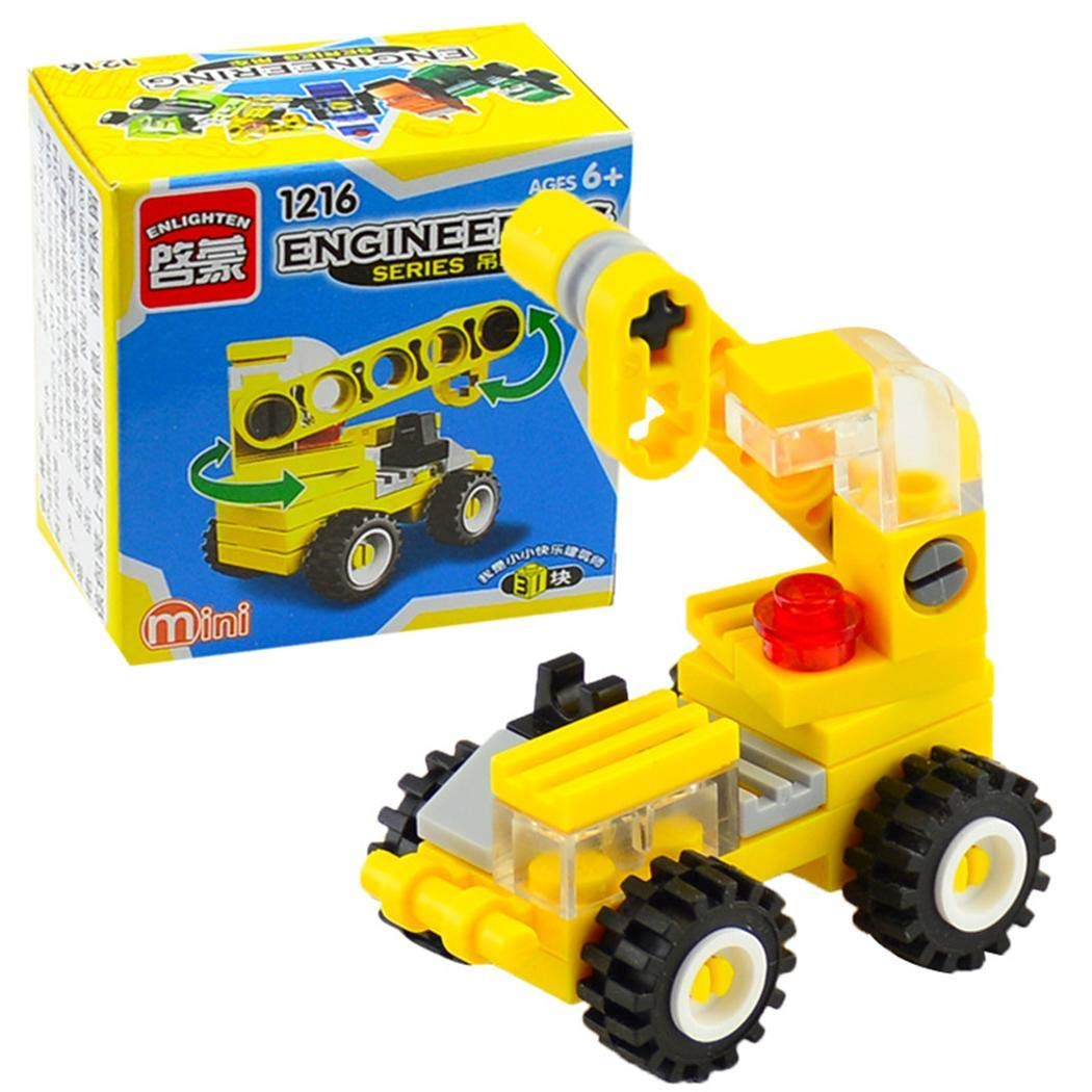 Qenci Toddler Mini Crane Forklift Bulldozer Excavator Dumper Building Block Toys by Qenci (Image #1)