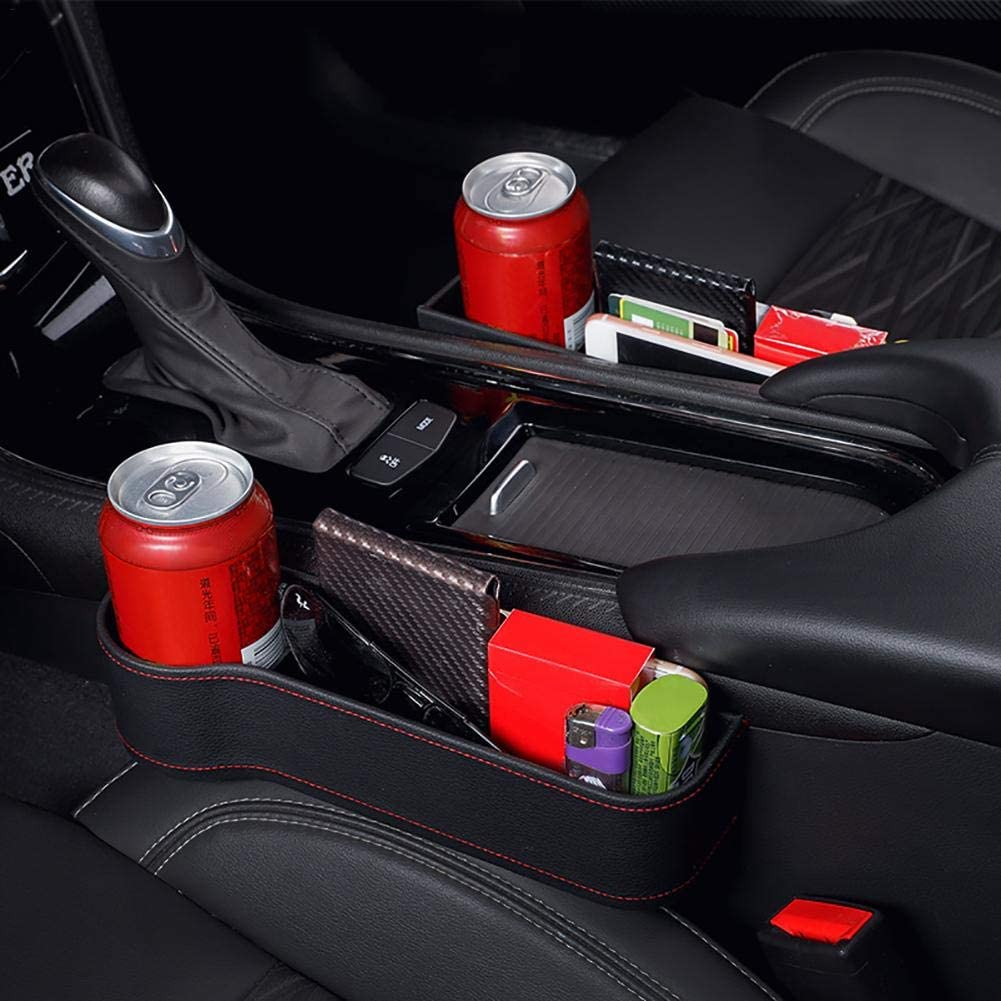 Car Seat Gap Organizer Storage Box Car Console Side Organizer Auto Seat Gap Filler Leather Seat Crevice Catcher Pocket Mobile Phone Holder for Snacks Electronics