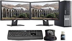 Optiplex 9020, Intel i7, 16GB, 500GB SSD, 2 New 24in Monitors, WiFi, Windows 10 Pro (Renewed)