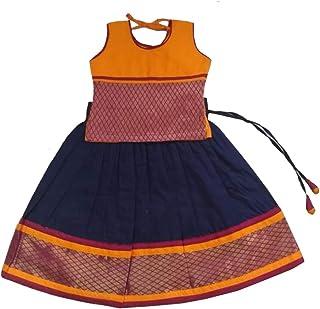 Pattu Pavadai Baby Girls Fancy Langa Skirt and Top (Yellow and Navy Blue; 6 Months - 5 Years)