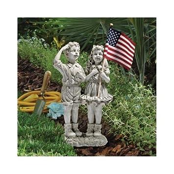 Patriotic Flag Children Statue Garden Statues Garden Sculptures Garden  Statue People Yard Statues