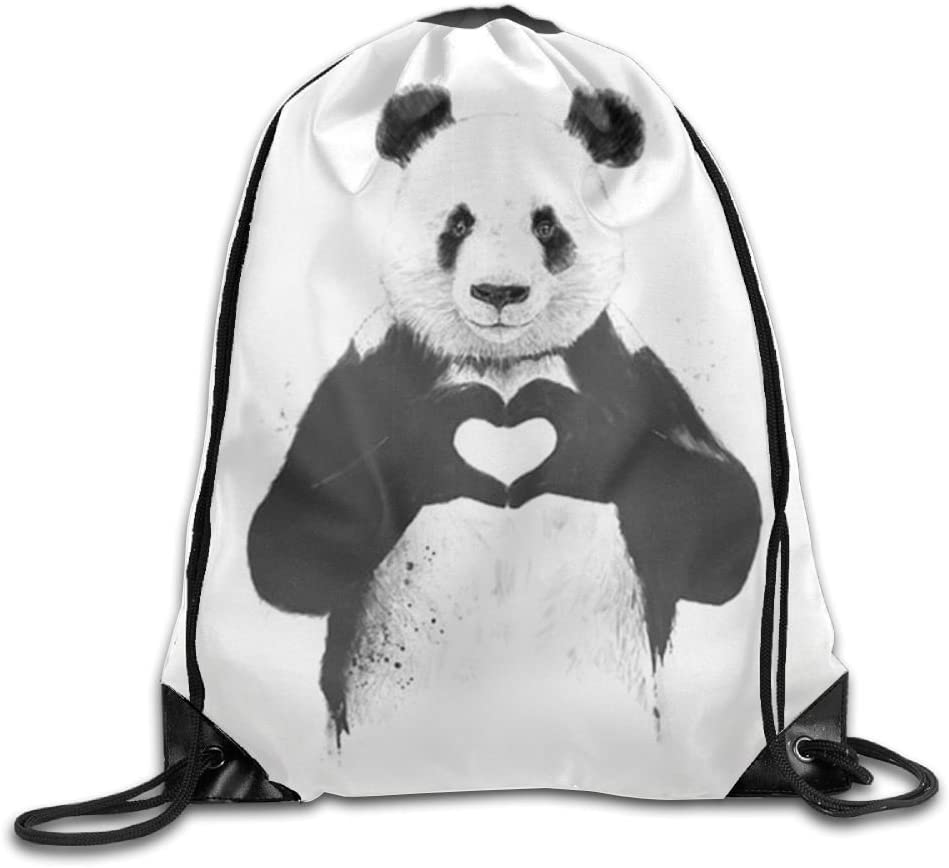 Pandas Love Drawstring Backpack Rucksack Shoulder Bags Training Gym Sack For Man And Women