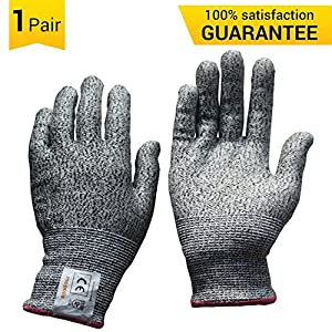 MOPOLIS Cut Resistant Gloves Dyneema Anti-Cut Kitchen Gloves Food Grade, High Performance Level 5 Hand Protection, Thin, Breathable, Stretchy, Durable, Color Grey, 1 Pair (Size Medium)