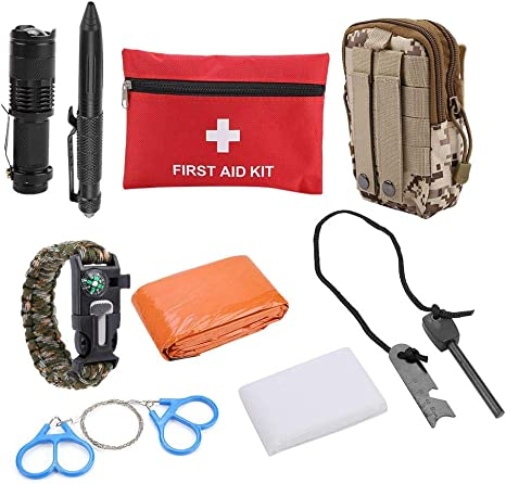Kits de Supervivencia 21 en 1 multifuncional Kits Tácticos con Botiquín de Primeros Auxilios,Mini caja de herramientas de supervivencia para el Coche,Hogar,Camping,Caza,Viajes,Aire Libre o Deportes: Amazon.es: Deportes y aire libre