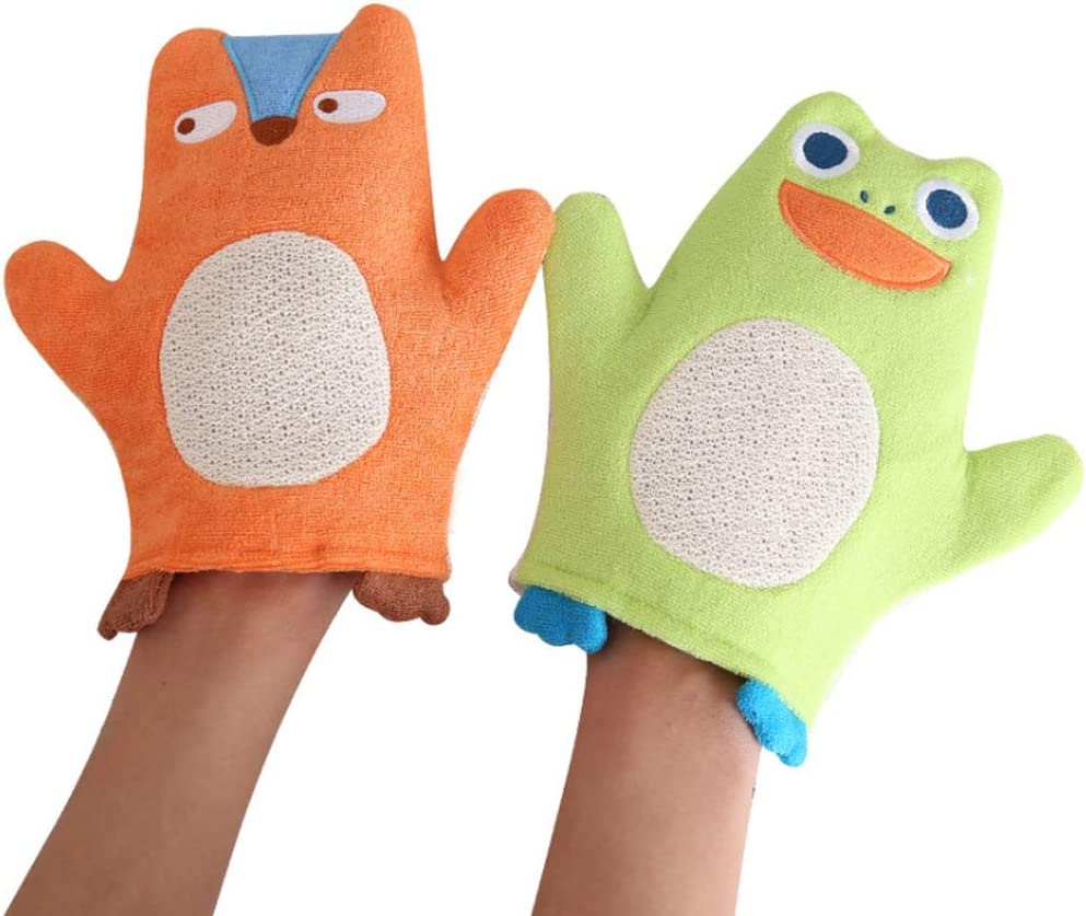 Bath Sponge Glove for Kids 5 Pack Cute Animal Shower Bathing Mitt Loofah Soft Wash Gloves Body Scrub for Baby Toddler Set of 5