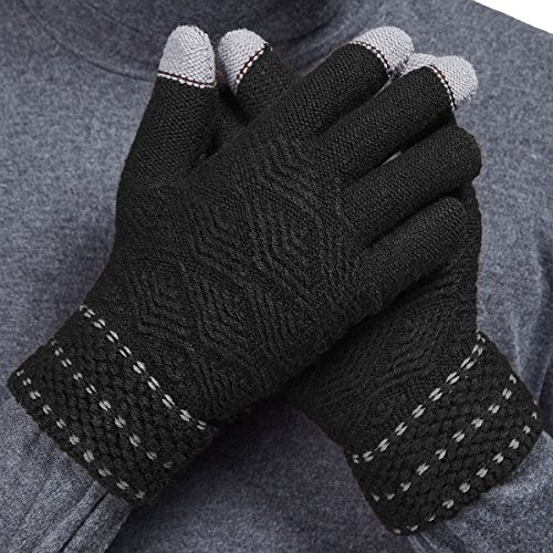 LETHMIK Winter Touchscreen Knit Gloves Mens Thick Texting Gloves with Warm Wool Lining Black (Gift For Man)