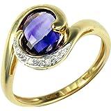 Ivy Gems 9ct Yellow Gold Amethyst and Diamond Dress Ring