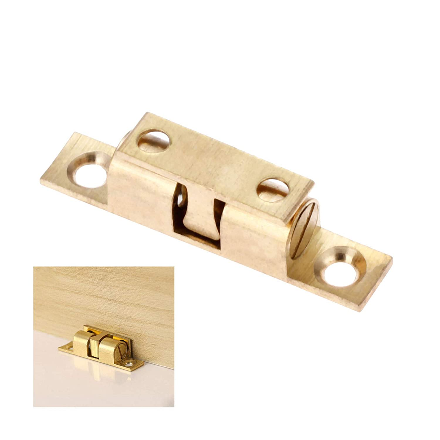 4pcs Cabinet Door Brass Double Ball Roller Catches Hardware Fittings 50mm Long