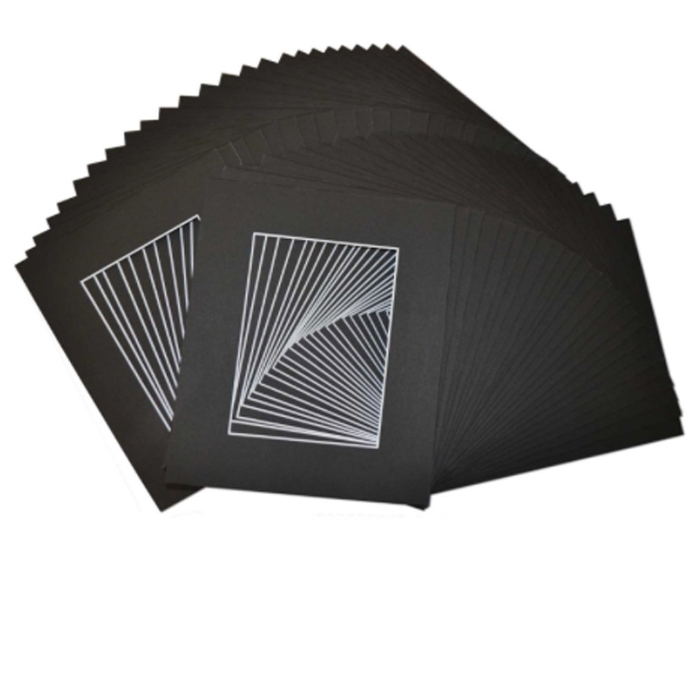 Studio 500,, Acid-Free Pack of 50 8 by 10-inch Black Picture Mat Mattes with White Core Bevel Cut for 5x7 Photo