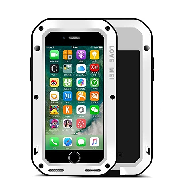 timeless design 486f0 7b56a iPhone X Case, Love MEI Outdoor Aluminum Metal Cases Apple iPhone X  Shockproof Dropproof Rainproof Silicone Back Cover Gorilla Glass Protector  (White)