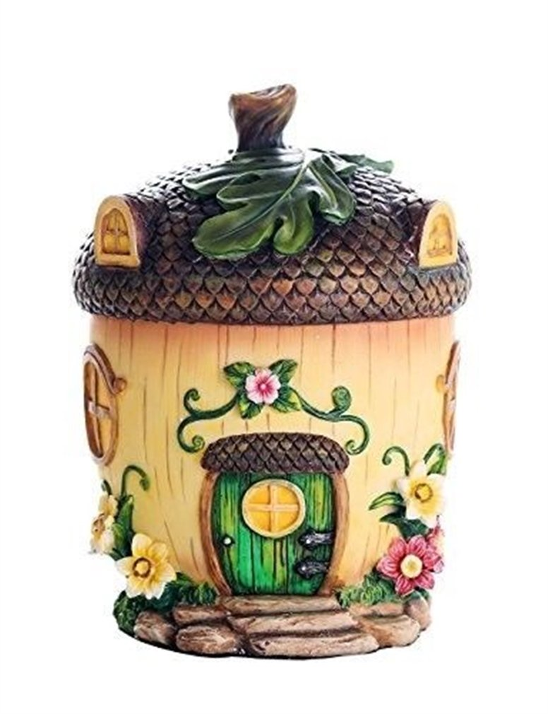 Ky & Co YesKela Fantasy Realm Miniature Fairy Garden Fairy Acorn Cottage Figurine Display 6.5''