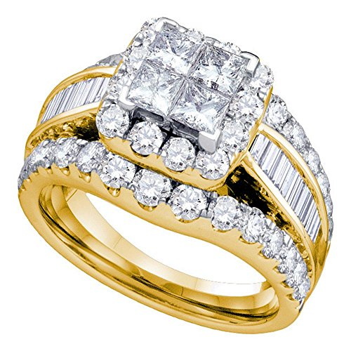 (Size 10 - 14K Yellow Gold Large Diamond Halo Ladies Bridal Engagement Ring with Matching Curved Notched Wedding Band Two 2 Ring Set - Square Princess Shape Center Setting w/ Invisible Channel Set Princess, Baguette, & Round Diamonds - (1.00 cttw))