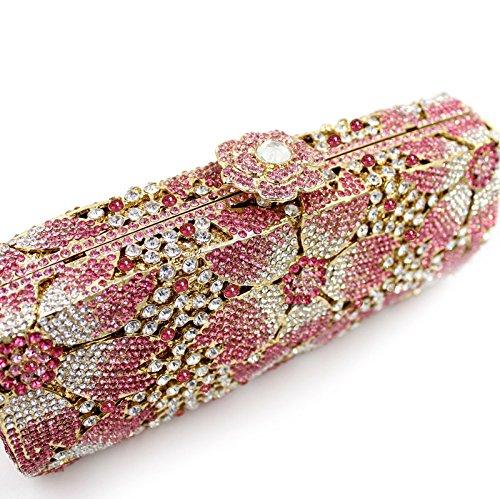 strass creux de sac soirée en clouté métal style pêche de main Sac de sac à en cristal la vqYU5