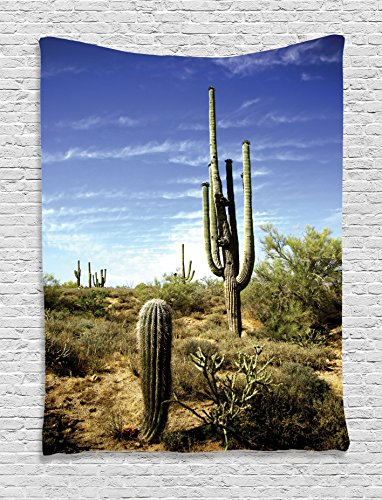 Ambesonne Saguaro Tapestry, Tall Saguaro Cactus with Spined Leaves Desert Plants in Sunny Day Picture Print, Wall Hanging for Bedroom Living Room Dorm, 60
